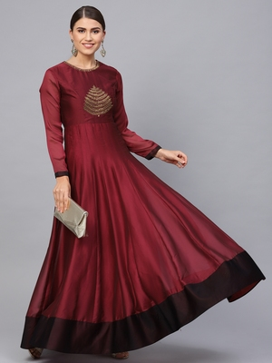 Maroon embroidered georgette islamic-dresses