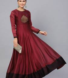 Maroon Embroidered Georgette Islamic Dresses