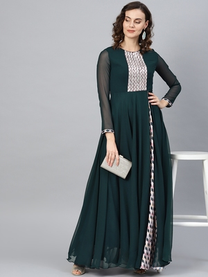Green Embroidered Georgette Islamic Dresses