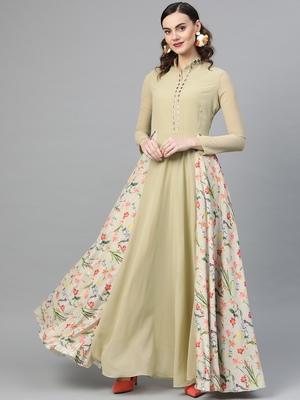 Green printed georgette islamic-dresses