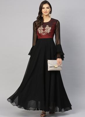 Black embroidered georgette islamic-dresses