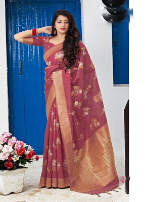 burgundy woven banarasi silk saree with blouse