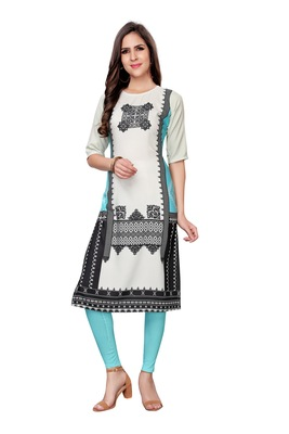 Off-white printed crepe ethnic-kurtis