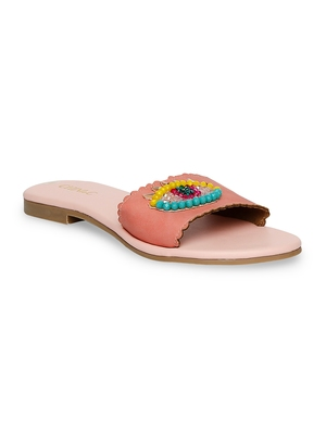 peach solid rubber sandals
