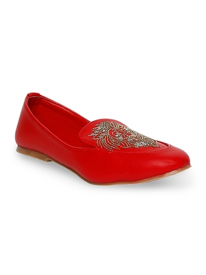 red solid rubber sandals