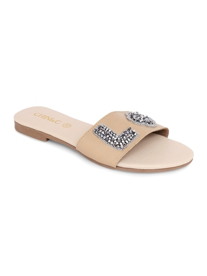 Beige solid rubber sandals