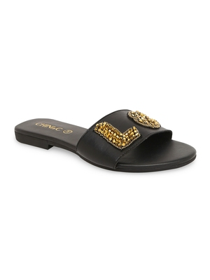 Black solid rubber sandals
