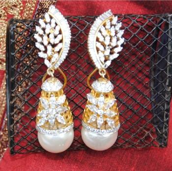 Diamond Studded Dangler Drop Earrings with Pearl Drop