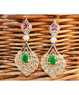 Emerald Drop Diamond Dangler Earrings