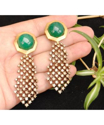 Green Onyx Champagne Diamond Dangler Earrings
