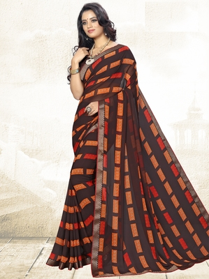 grey printed georgette saree with blouse