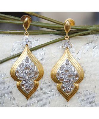 Uncut Diamond Gold Dangler Earrings