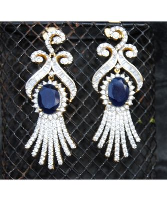 Oval Sapphire Diamond Dangler Earrings