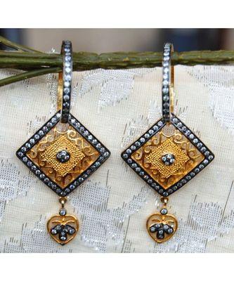 Bali Geometric Gold Dangler Earrings