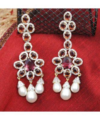 Wine Diamond Pearl Drop Dangler Earrings