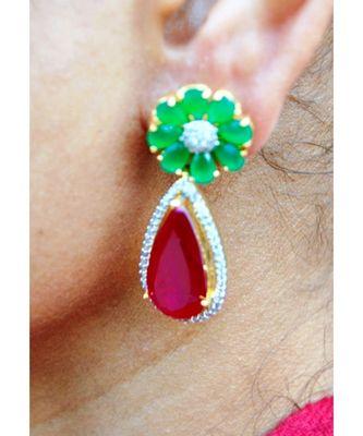 Emerald Ruby Drop Dangler Earrings