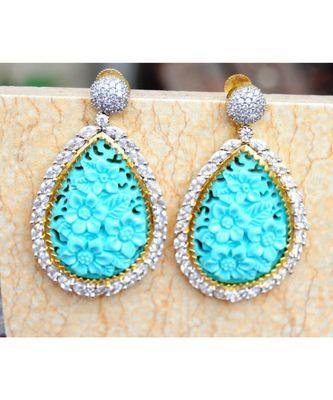 Blue Floral Carved American Diamond Dangler Earrings