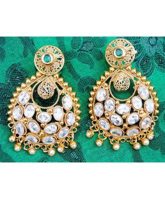 Filigree Kundan Emerald Dangler Earrings