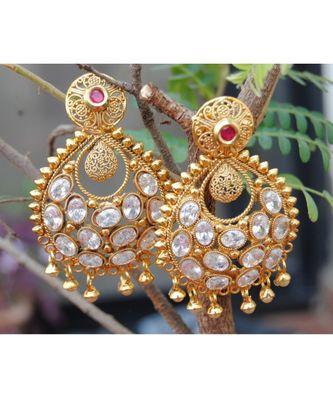 Filigree Kundan Ruby Dangler Earrings