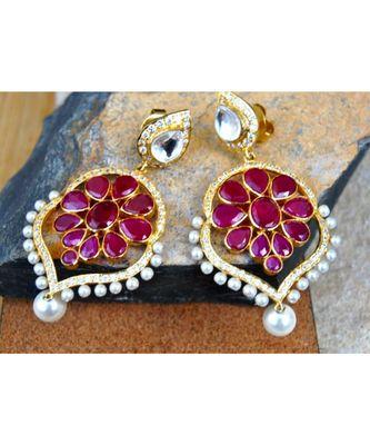 Ruby Pearl Dangler Earrings