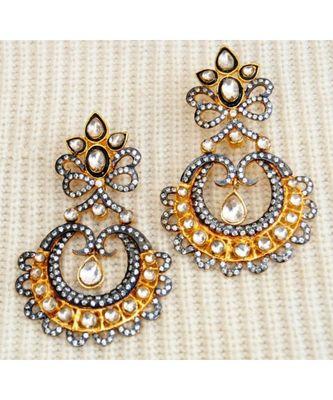 Gold Kundan Dangler Earrings