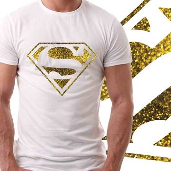 Superman Mens Glitter T-shirt at Offer,Mens Gold Special Effect Tshirt