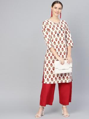 Red printed Cotton kurti