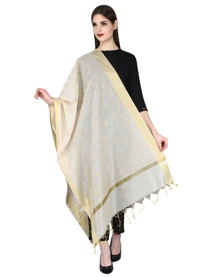 Beige Gold Block Print Chanderi Cotton Silk Dupatta