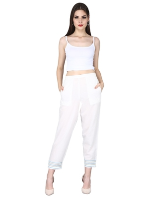 White Pure Cotton Plain Pants with Embrodiery at Ankle