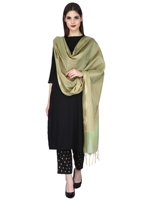 Green Gold Banarasi Art Silk Woven Design Dupatta