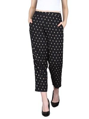 Black Rayon Printed Pants