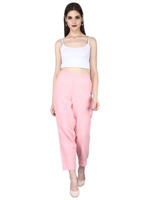 Pink Cotton Slub Straight Pants