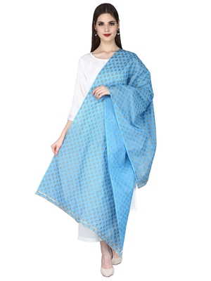 Blue Women's Hand Block Printed Dupatta