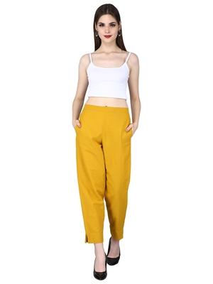 Yellow Cotton Khadi Straight Pants