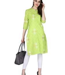 green Pure Cotton Classy Gold Print Collar Neck Calf Long Kurta
