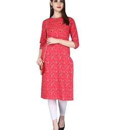 red Pure Cotton Floral Pattern Round Neck Calf Long Kurta