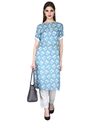 blue Rayon Printed Boat Neck with Potli Button Ethnic Set