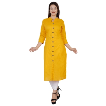 mustard printed Cotton kurti