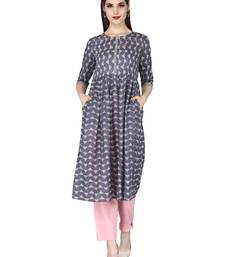 grey Pure Cotton Discharge Print Round Neck Ethnic Set