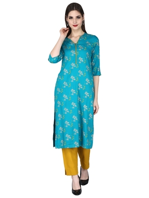 green Rayon Floral Pattern Round with V Neck Ethnic Set