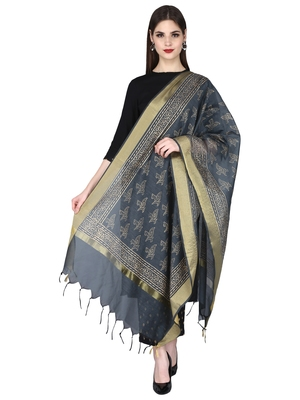 black Rayon Plain/Solid Round Neck Ethnic Set With Beautiful Gold Printed Duptta
