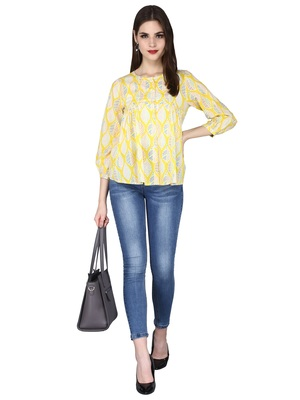 Yellow Printed Cotton Top
