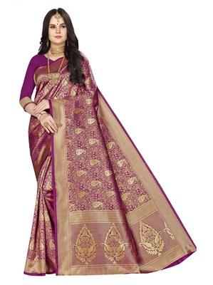 Purple woven banarasi silk saree with blouse