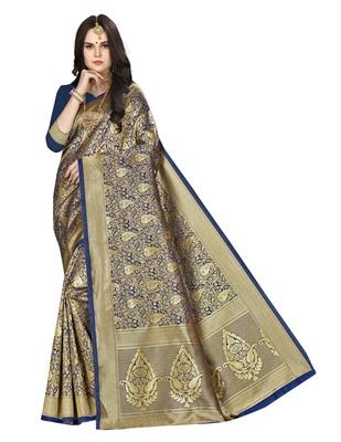 Navy blue woven banarasi silk saree with blouse