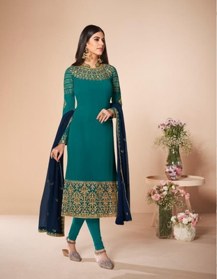 Royal-blue embroidered faux georgette salwar