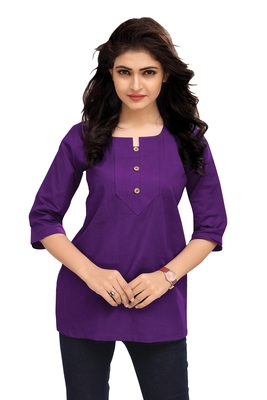 Purple Plain Cambric Stone Work Cotton Tops