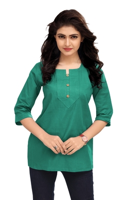 Sea Green Plain Cambric Stone Work Cotton Tops