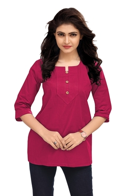 Pink Plain Cambric Stone Work Cotton Tops