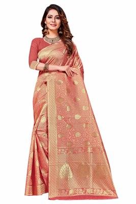Light peach woven banarasi silk saree with blouse