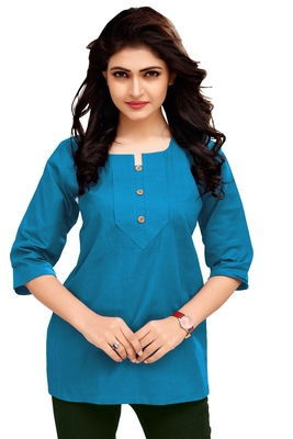 Sky Blue Plain Cambric Stone Work Cotton Tops